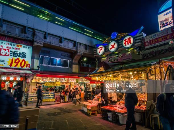 Japanese City Life at Night, People Walking Along Crowded Shopping Alley, Ameya-Yokocho
