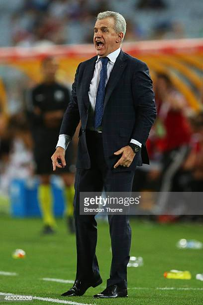 Japanese Coach Javier Aguirre gestures during the 2015 Asian Cup Quarter Final match between Japan and the United Arab Emirates at ANZ Stadium on...