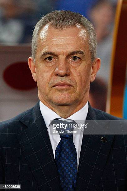 Japanese Coach Javier Aguirre looks on prior to the 2015 Asian Cup Quarter Final match between Japan and the United Arab Emirates at ANZ Stadium on...