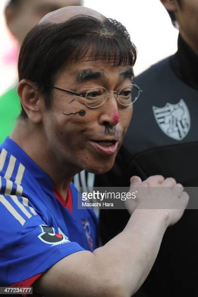 Japanese comedian Ken Shimura looks on befpre the JLeague match between FC Tokyo vs Ventforet Kofu at Ajinomoto Stadiuma on March 8 2014 in Tokyo...