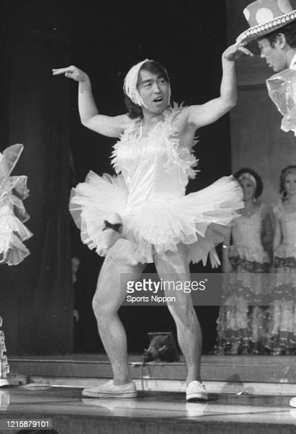 Japanese comedian Ken Shimura performs as ballerina during The Drifter's New Year's Performance on January 2 1977 in Tokyo Japan