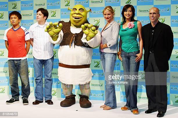 Japanese comedian Masatoshi Hamada, actor Mike Myers, actress Cameron Diaz, Japanese actress Norika Fujiwara and executive producer Jeffery...
