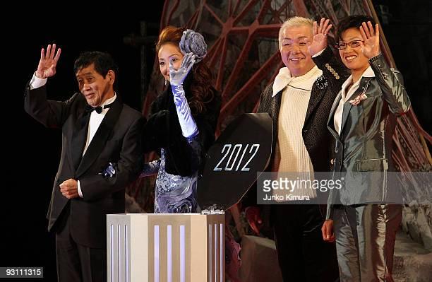 Japanese commedian Kinichi Hagimoto model and designer Uno Kanda spiritual counselor Hiroyuki Ehara softball pitcher Yukiko Ueno attend the '2012'...