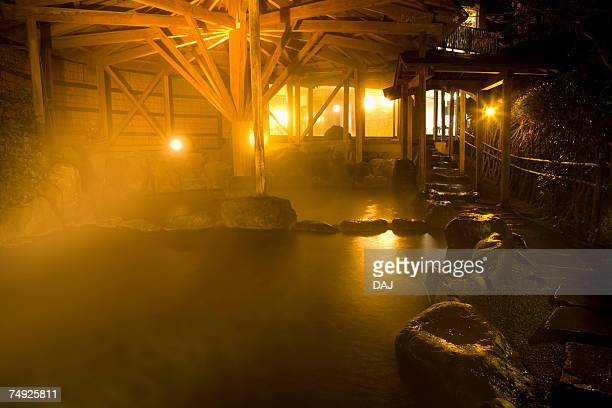 Japanese common tub in the night, hot spring, high angle view, lens flare, Japan