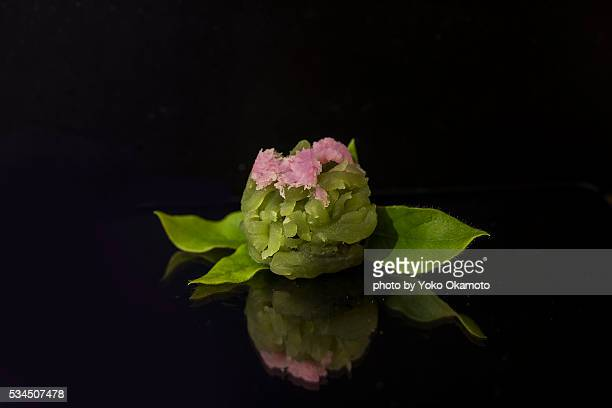 japanese confectionery with the image of the azalea - japanese food stock pictures, royalty-free photos & images