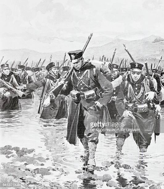 Japanese contingent crossing the Yalu River May 1 illustration from L'Illustrazione Italiana RussoJapanese War North Korea 20th century