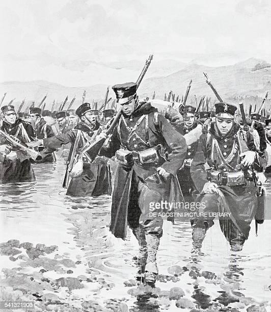 Japanese contingent crossing the Yalu River May 1 illustration from L'Illustrazione Italiana RussoJapanese War North Korea 20th century