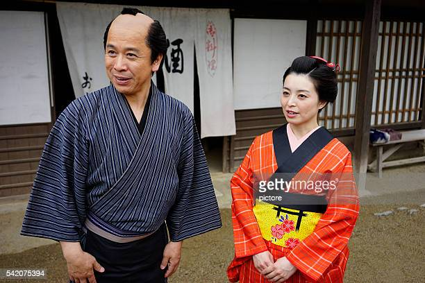 Japanese couple in Edo Period Town