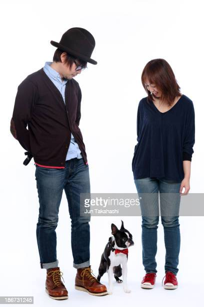 japanese couple - dog knotted in woman stock pictures, royalty-free photos & images