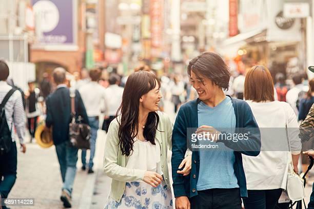 日本のカップル外 int た街並み