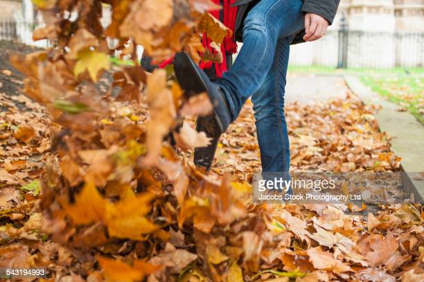 Japanese couple walking in autumn leaves