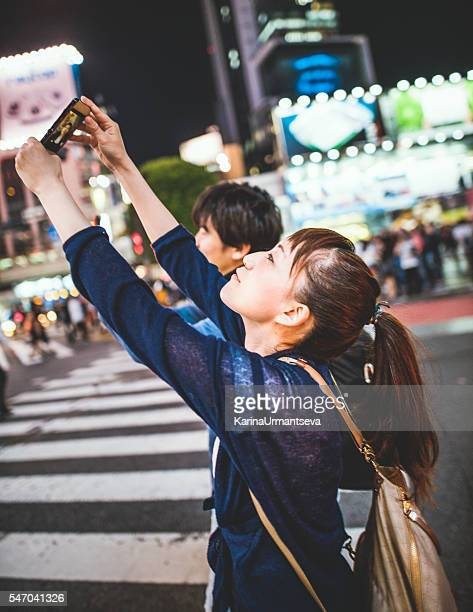 Japanese couple walking on the street