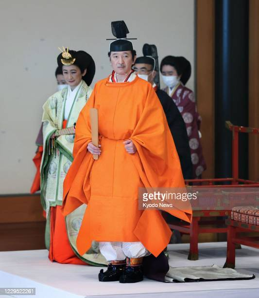 Japanese Crown Prince Fumihito and Crown Princess Kiko attend a ceremony on Nov. 8, 2020 at the Matsu no Ma stateroom of the Imperial Palace in Tokyo...