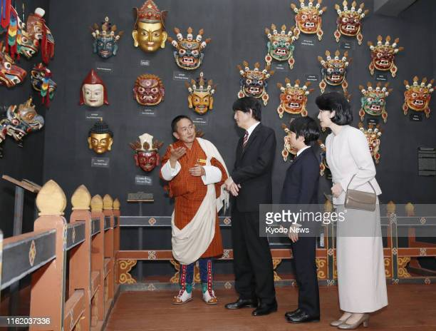 Japanese Crown Prince Fumihito Crown Princess Kiko and their 12yearold son Prince Hisahito visit the National Museum of Bhutan in the western...