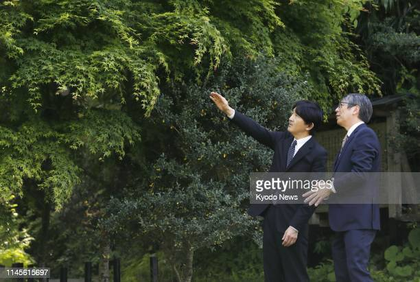 Japanese Crown Prince Fumihito visits the Tohoku University Botanical Gardens in Sendai in Miyagi Prefecture northwestern Japan on May 23 2019 ==Kyodo