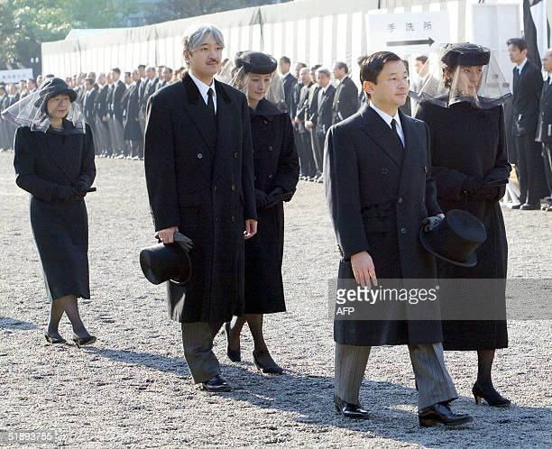 Japanese Crown prince Naruhito and Crown princess Masako lead Prince Akishino his wife Princess Kiko and Princess Sayako walking to the Toshimagaoka...
