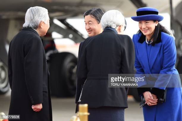 Japanese Crown Prince Naruhito and Crown Princess Masako see off Emperor Akihito and Empress Michiko before leaving Tokyo for the Philippines on...