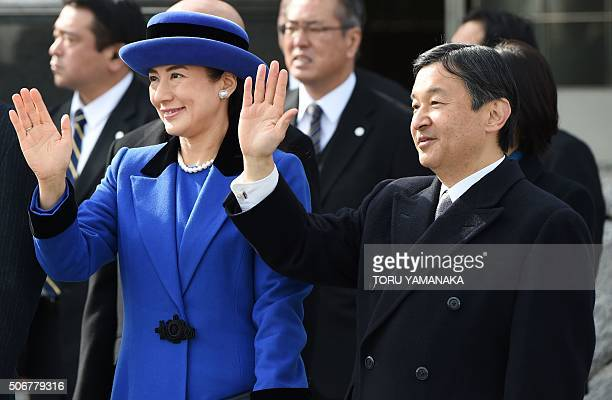 Japanese Crown Prince Naruhito and Crown Princess Masako wave as Emperor Akihito and Empress Michiko leave Tokyo for the Philippines on January 26...