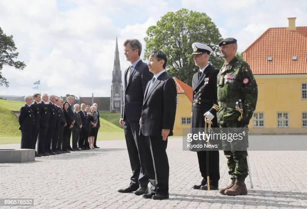 Japanese Crown Prince Naruhito and Danish Crown Prince Frederik visit a monument in Copenhagen on June 16 2017 commemorating international...