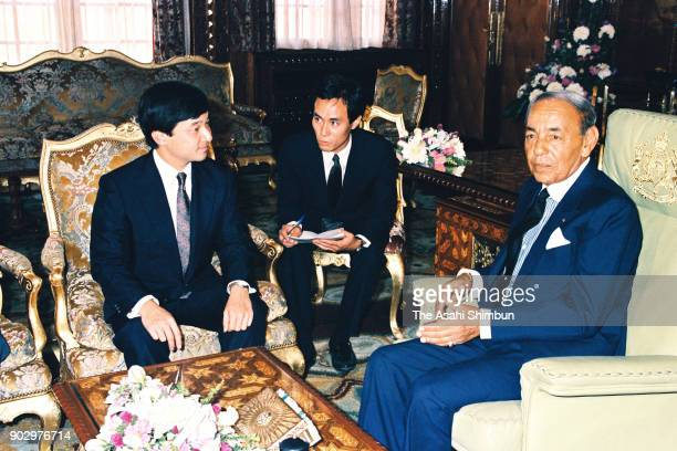 Japanese Crown Prince Naruhito and King Hassan II of Morocco talk during their meeting at the royal palace on September 12 1991 in Rabat Morocco