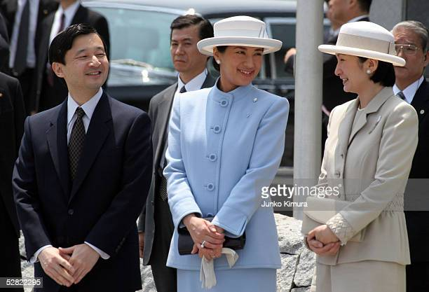 Japanese Crown Prince Naruhito Crown Princess Masako and Princess Kiko wait for the Emperor Akihito and Empress Michiko to arrive at Tokyo...