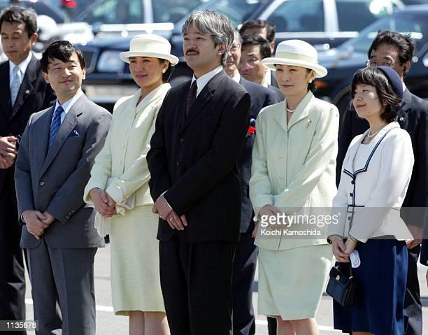 Japanese Crown Prince Naruhito Crown Princess Masako Prince Akishino Princess Kiko and Princess Norinomiya wait to welcome Emperor Akihito and...