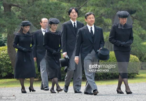 Japanese Crown Prince Naruhito Crown Princess Masako Prince Akishino Princess Kiko and Princess Mako attend the main funeral service for Prince...