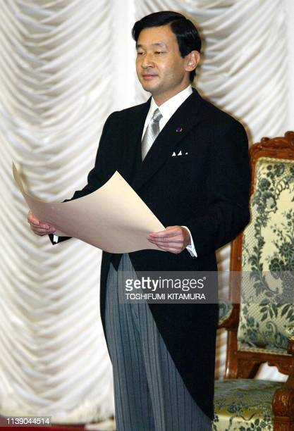 Japanese Crown Prince Naruhito delivers an opening speech on behalf of Emperor Akihito who is hospitalized at the upper house of the parliament in...