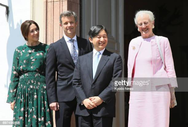 Japanese Crown Prince Naruhito is greeted by Danish Queen Margrethe II Crown Prince Frederik and his wife Crown Princess Mary upon his arrival at the...