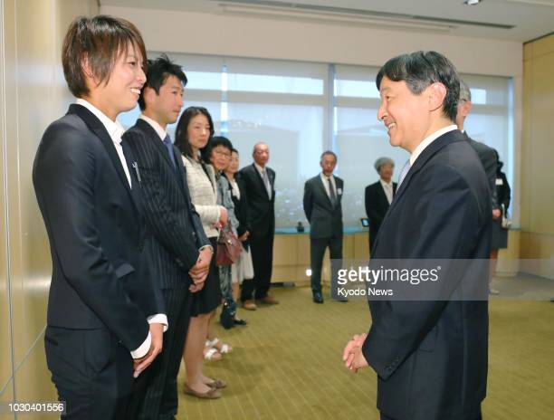 Japanese Crown Prince Naruhito meets with French first league Olympique Lyonnais' Kumagai Saki in Lyon on Sept 8 2018 ==Kyodo