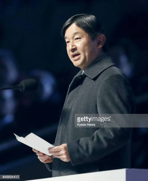 Japanese Crown Prince Naruhito speaks during the closing ceremony of the Asian Winter Games in Sapporo on Feb 26 2017 ==Kyodo