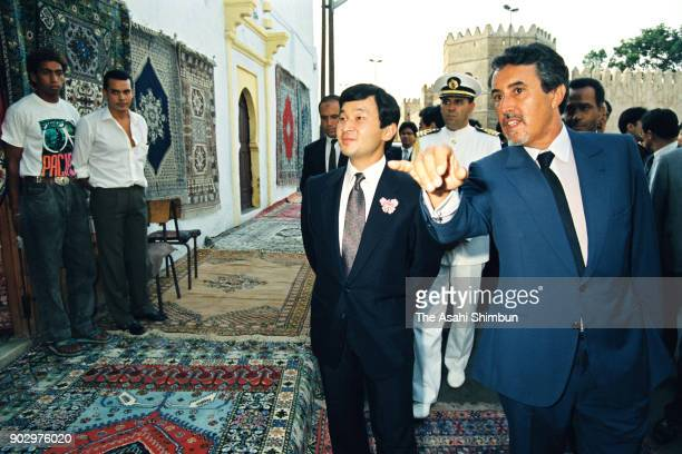 Japanese Crown Prince Naruhito visits the Kasbah des Oudayas on September 12 1991 in Rabat Morocco