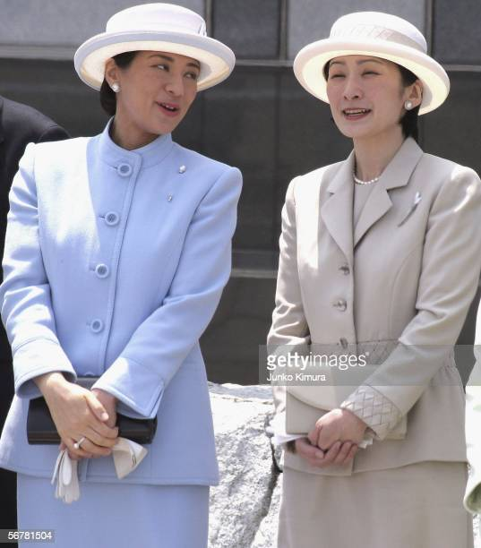 TOKYO JAPAN Japanese Crown Princess Masako and Princess Kiko wait for the Emperor Akihito and Empress Michiko to arrive at Tokyo International...