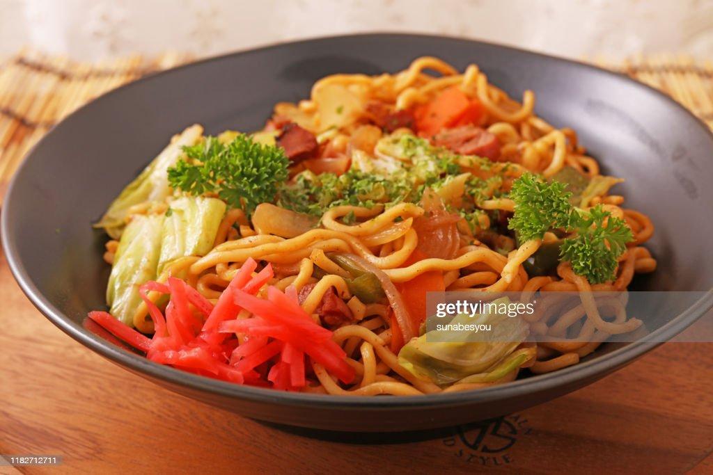 Japanese cuisine, fried noodles Yakisoba : Stock Photo