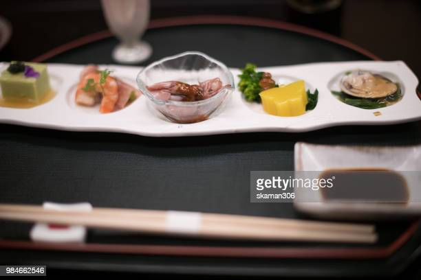 japanese cuisine kaiseki style in ryokan at kyoto japan