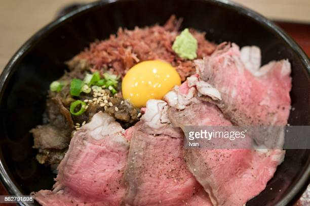 Japanese Cuisine, Raw Beef Donburi rice with egg Yolk, Steak tartare