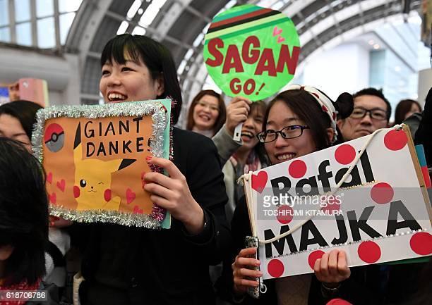 Japanese cycling fans gather at an event of the 2016 Tour de France Saitama Criterium in Saitama on October 28 2016 The Saitama Criterium race will...