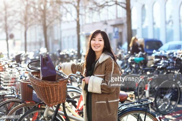 Japanese cyclist in Copenhagen, Denmark