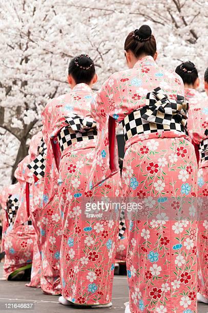 Japanese dancers celebrate cherry blossom festival