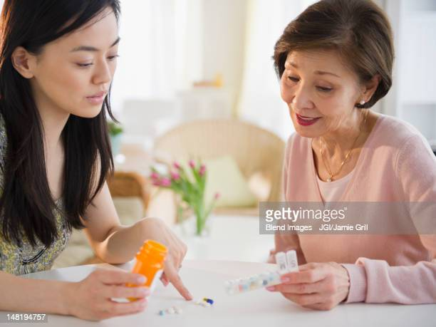 Japanese daughter explaining, medication to mother