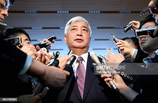 Japanese Defense Minister Gen Nakatani speaks to media reporters after a meeting with state ministers concerning the hostage crisis at Prime Minister...