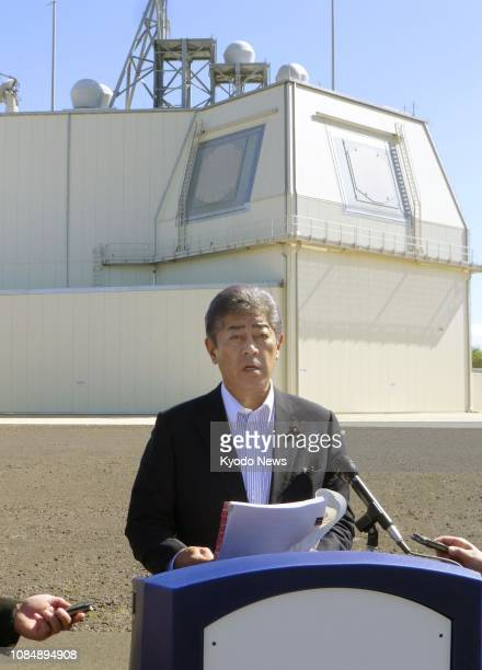 Japanese Defense Minister Takeshi Iwaya meets the press during his visit to the Aegis Ashore landbased missile defense test complex on Kauai Island...