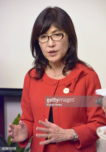 Japanese Defense Minister Tomomi Inada meets with reporters on Nov 16 in Vientiane Laos where she attended ASEANJapan Defense Ministers' Informal...