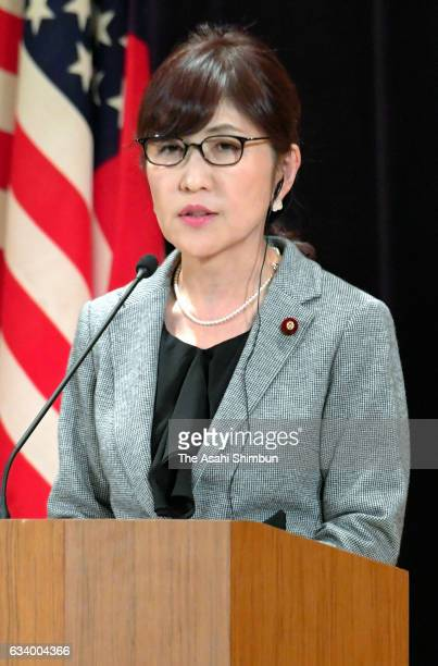 Japanese Defense Minister Tomomi Inada speaks during a joint press conference after her meeting with US Secretary of Defense James Mattis at Defense...
