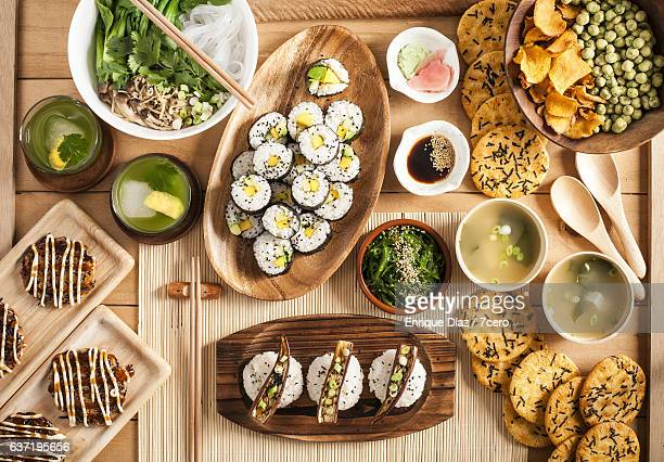 japanese dinner banquet - japanese food stock pictures, royalty-free photos & images