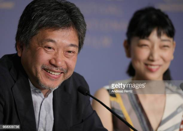 Japanese director Hirokazu KoreEda attends the press conference for Shoplifters during the 71st annual Cannes Film Festival at Palais des Festivals...