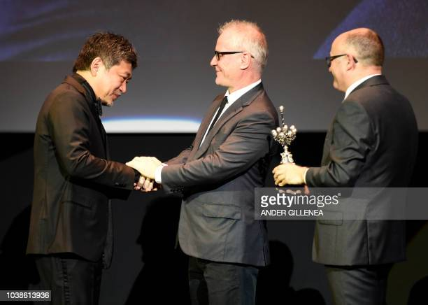 Japanese director Hirokazu KoreEda receives the Donostia Award in recognition of his prestigious film career from the General Delegate of the Cannes...