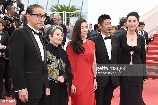 Japanese director Naomi Kawase actor Masatoshi Nagase actress Kyara Uchida actress Kirin Kiki and writer Durian Sukegawa pose as they arrive for the...