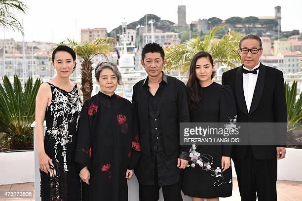 Japanese director Naomi Kawase actress Kirin Kiki actor Masatoshi Nagase actress Kyara Uchida and writer Durian Sukegawa pose during a photocall for...