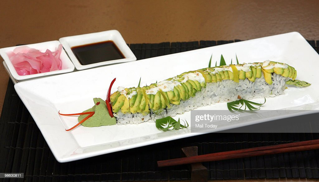 A Japanese dish is displayed at Kylin, a Japanese restaurant at Vasant Vihar in Delhi, are displayed in New Delhi on April 21, 2010.